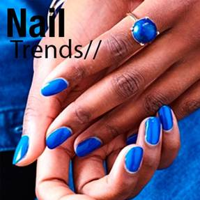 Model with blue nails